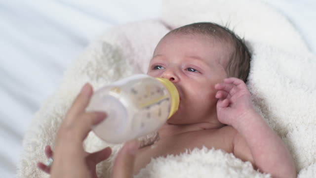 cu newborn baby drinking from a bottle - reclining stock videos and b-roll footage