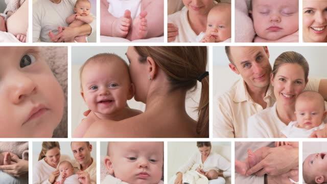vídeos y material grabado en eventos de stock de newborn baby family montage - pantalla dividida