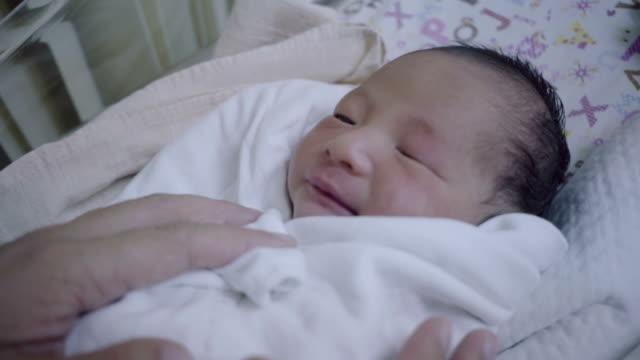 vídeos y material grabado en eventos de stock de recién nacido (0-1 mes) colocación en incubadora - bebés 0 1