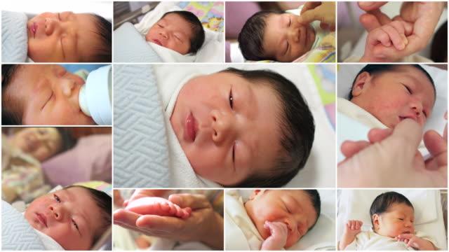 生まれたばかりの赤ちゃんのモンタージュ - フィルムモンタージュ点の映像素材/bロール