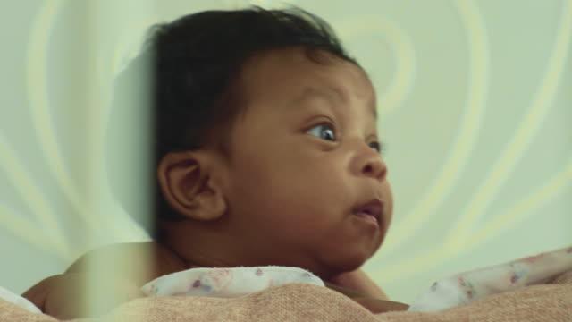 newborn baby napping - crib stock videos & royalty-free footage