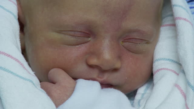 vidéos et rushes de ecu, newborn girl wrapped in blanket, georgia, atlanta, usa - bébé de 0 à 6 mois