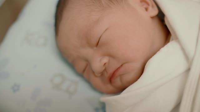 newborn infant sleeping - 0 1 months stock videos & royalty-free footage