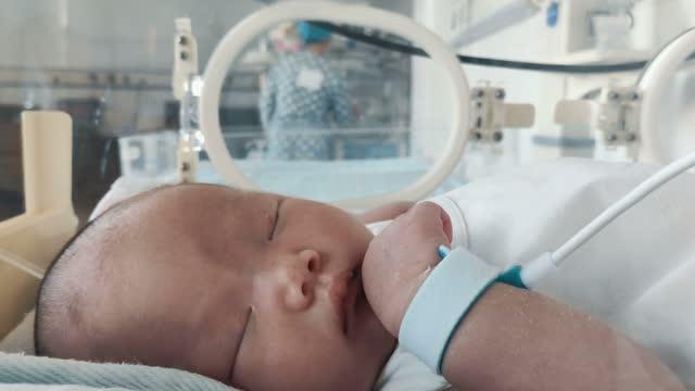 病院の保育器の中の新生児 - 絆創膏点の映像素材/bロール