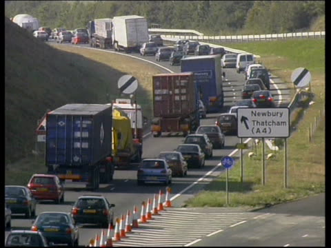 newbury bypass closed for resurfacing itn newbury gvs traffic jam caused by closure of newbury bypass for resurfacing work - newbury england stock videos & royalty-free footage