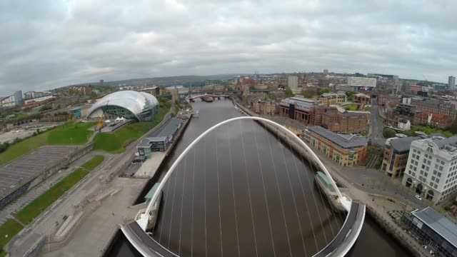 newcastle and gateshead to host 2018 'great exhibition of the north'; england: tyneside: newcastle upon tyne: ext air views / aerials / drone shots... - newcastle upon tyne stock-videos und b-roll-filmmaterial
