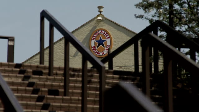 newcastle brown ale beer logo on pub at top of steps in newcastle upon tyne uk - newcastle upon tyne stock videos & royalty-free footage