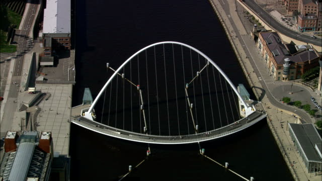 newcastle city bridges  - aerial view - england, newcastle upon tyne, united kingdom - newcastle upon tyne stock videos & royalty-free footage
