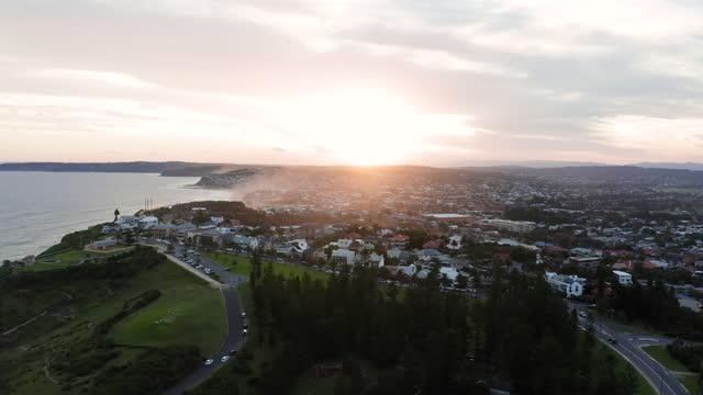 newcastle coast at sunset - australia stock videos & royalty-free footage