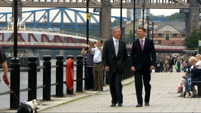 newcastle ext general views tyne bridge and dennis grainger along beside river with reporter dennis grainger interview sot - tyne bridge stock videos & royalty-free footage