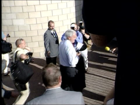 New manager Bobby Robson arrives ITN ENGLAND Newcastle St James Park Bobby Robson along greets press as arriving for press conference INT BV Robson...