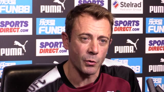 Newcastle fitness coach Francisco de Miguel Moreno stands in for manager Rafael Benitez to give a press conference ahead of the team's Premier League...