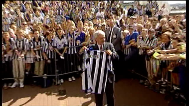 St James' Park EXT Bobby Robson posing for photocall with Newcastle football shirt at time of being made Manager of Newcastle United FC