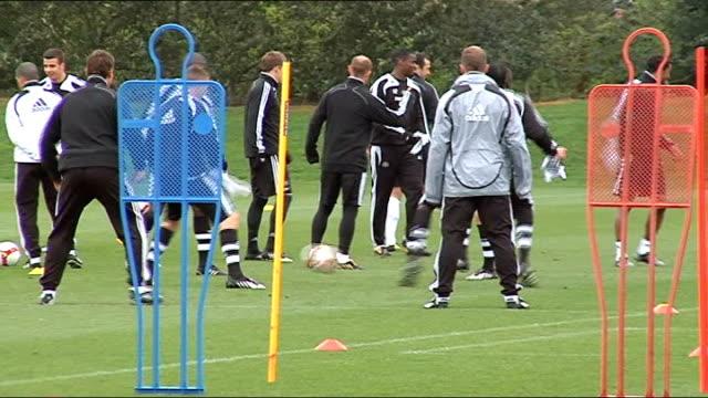 newcastle united training shots; generic training shots - torschuss stock-videos und b-roll-filmmaterial