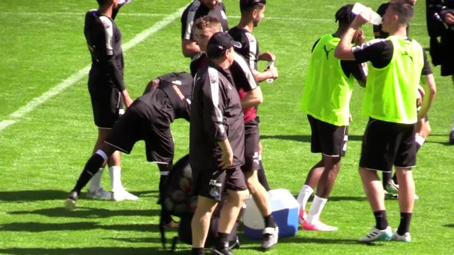 newcastle united's open training at st james's park ahead of their match against huddersfield on sunday players include rafa benitez and jonjo... - st. james' park newcastle upon tyne stock videos & royalty-free footage