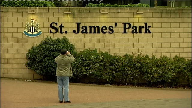 newcastle united's st james' park stadium renamed england newcastleupontyne ext 'st james' park' sign on wall outside football stadium wide shot st... - st. james' park newcastle upon tyne stock videos & royalty-free footage