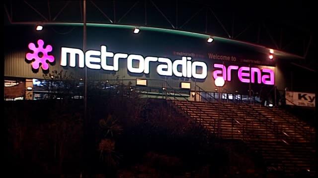 NewcastleuponTyne bridges and buildings / Northern Rock shareholders' meeting NIGHT General views of MetroRadio Arena and illuminated sign