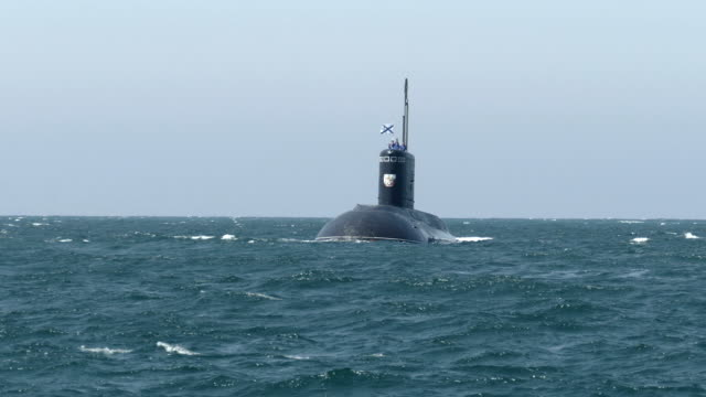newest missile submarine in the stormy sea - submarine stock videos and b-roll footage