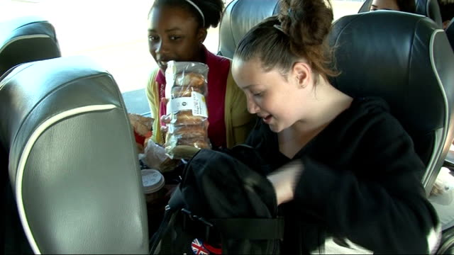 newham and tower hamlets pupils leave for holland; **barbra streisand by duck sauce music overlaid sot** vox pops with hockey players in coach... - barbra streisand stock videos & royalty-free footage