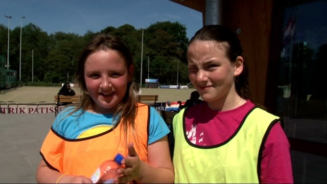 newham and tower hamlets pupils leave for holland; day various views of training session with team gb in progress vox pops including coach allan dick... - torschuss stock-videos und b-roll-filmmaterial
