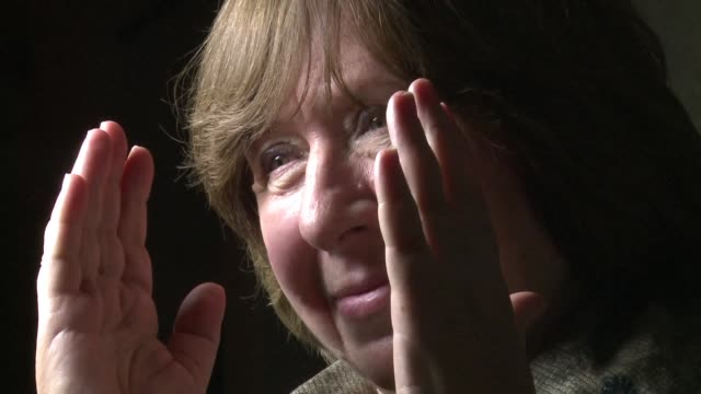 newly crowned nobel literature prize laureate svetlana alexievich said belarus was most afraid of russian nationalism and held out little hope of... - nobel prize in literature stock videos & royalty-free footage