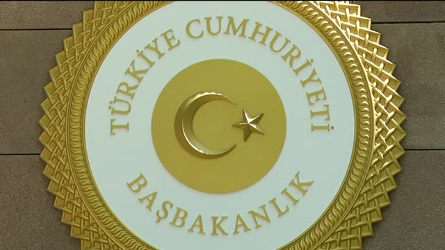 newly designed emblem of the turkish prime ministry is seen outside the cankaya palace in ankara turkey on august 5 2015 footage by engin corlu /... - türkischer premierminister stock-videos und b-roll-filmmaterial