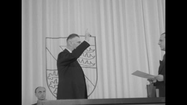 newly elected federal republic of germany chancellor konrad adenauer and his first cabinet vice chancellor franz blucher takes oath of office /... - 1949 stock videos and b-roll footage