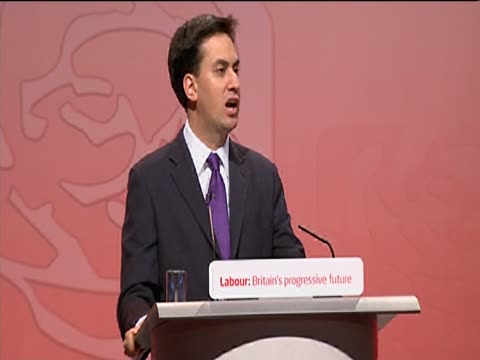 newly elected leader of the labour party ed miliband gives first speech at annual party conference - ed miliband stock-videos und b-roll-filmmaterial