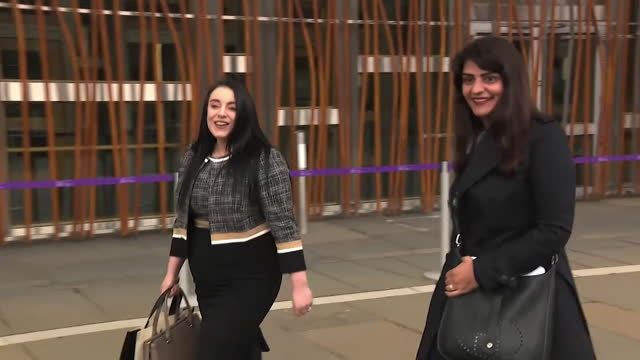 newly elected msp's arriving at holyrood parliament, edinburgh, on their first day at work after the scottish elections - horizontal stock videos & royalty-free footage