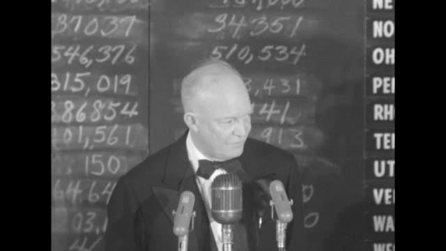 sot newly elected presidentelect dwight eisenhower in black tie thanks crowd finishes remarks / vs view of mamie eisenhower daughterinlaw barbara rnc... - 1952 stock videos and b-roll footage