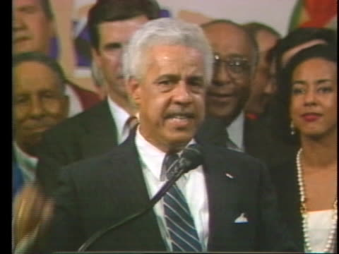 newly elected virginia governor douglas wilder celebrates his victory as the first african american elected as governor of a us state. - virginia us state stock videos & royalty-free footage