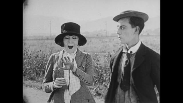 1922 newly engaged couple (buster keaton and virginia fox) try to catch departing train - buster keaton stock videos and b-roll footage