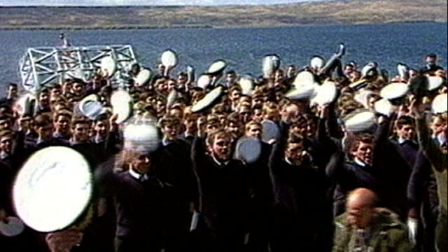 newly released papers reveal margaret thatcher's shock at falkland islands invasion lib margaret thatcher speech sot we have ceased to be a nation in... - フォークランド諸島点の映像素材/bロール
