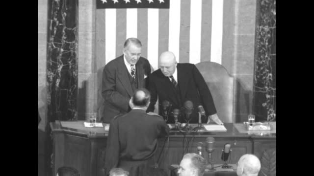 Newly returned Gen Douglas MacArthur speaking before joint session of Congress speaker of the House Sam Rayburn and president of the Senate Alben...