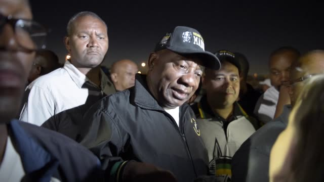 Newly sworn in South African president Cyril Ramaphosa is joined by a group of media and supporters to walk on an early morning from Guguletu...