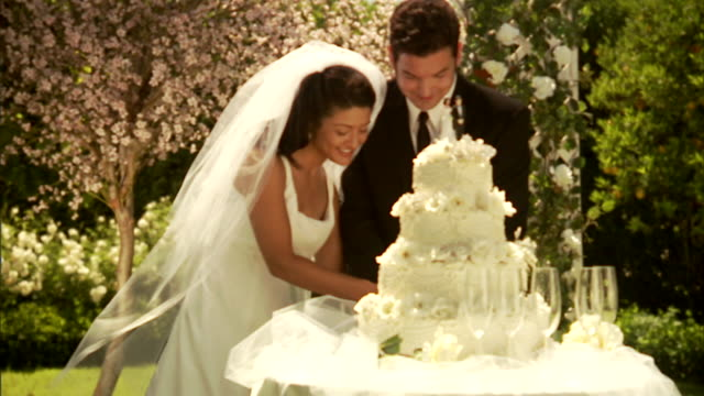 CU, Newly wed couple slicing wedding cake in garden