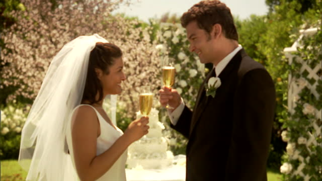 cu, newly wed couple toasting with champagne in garden - boutonniere stock videos and b-roll footage