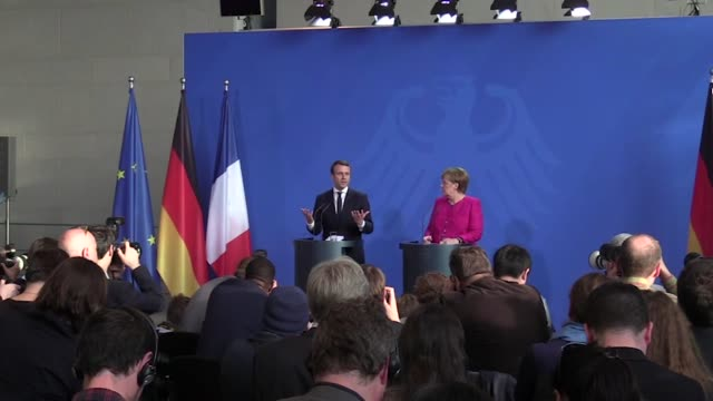 Newlyelected French President Macron and German Chancellor Angela Merkel meet and hold a joint press conference at the German Chancellery in Berlin...