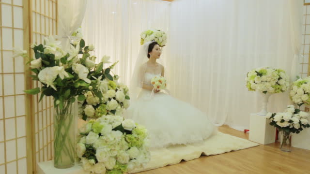 Newlywed bride sitting in the bridal dress room and asking if everything is alright