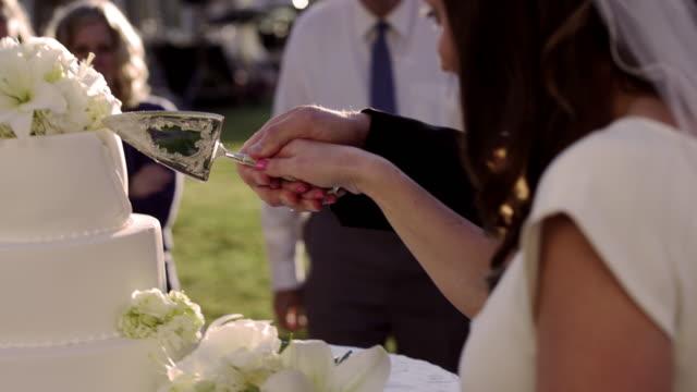 Newlywed couple cutting their wedding cake together.