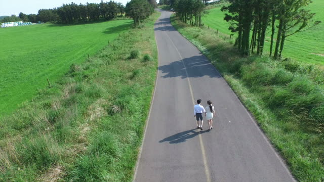 Newlywed couple holding hands and walking on a road in Isidolmokjang Farm in Jeju Island