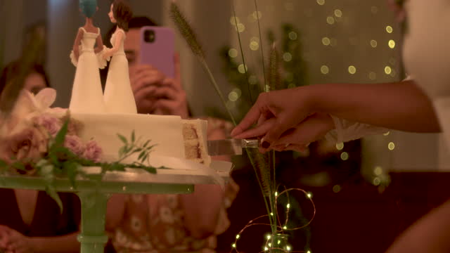 newlywed lesbian couple cutting cake at wedding - five people stock videos & royalty-free footage