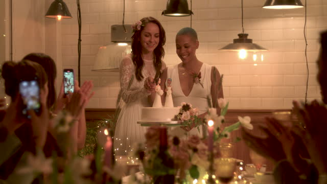 newlywed lesbian couple cutting cake at wedding - 20 29 years stock videos & royalty-free footage