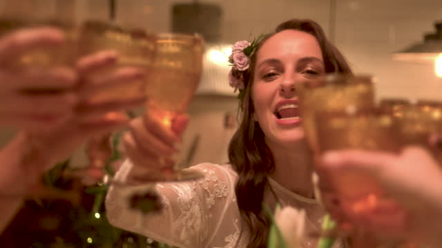 newlywed lesbian couple toasting with wine glasses at wedding reception - 20 29 years stock videos & royalty-free footage