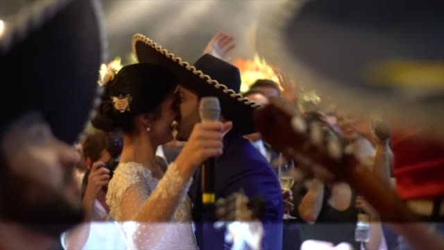 newlyweds dancing mexican music during party - mexican culture stock videos & royalty-free footage