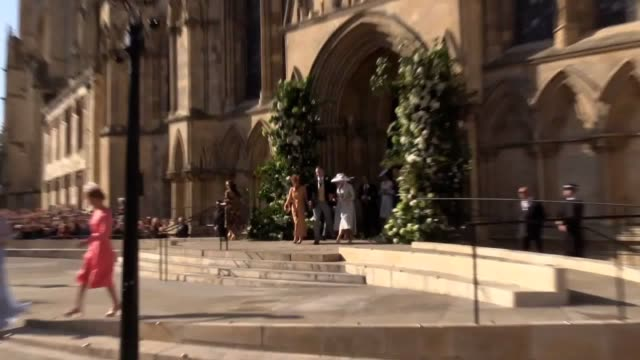 newlyweds ellie goulding and caspar jopling leave york minster wedding guests including sienna miller princess beatrice princess eugenie sarah... - camper van stock videos & royalty-free footage
