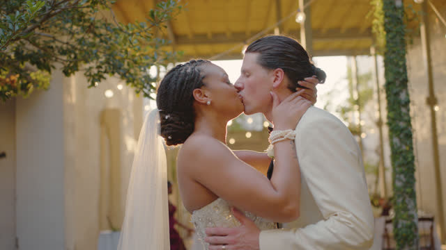 slo mo newlyweds kiss one another as they celebrate their marriage - eternity stock videos & royalty-free footage
