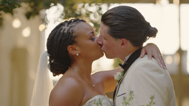 slo mo cu newlyweds lock lips after gazing into one another's eyes - eternity stock videos & royalty-free footage