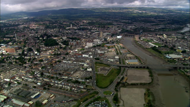 newport  - aerial view - wales, city of newport, united kingdom - wales stock videos & royalty-free footage