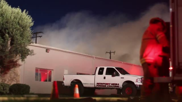 newport beach, ca fire erupted on production ln in newport beach just in the border line with the city of costa mesa. - costa mesa stock videos & royalty-free footage